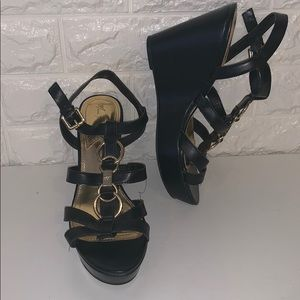 Black dressy wedge sandals